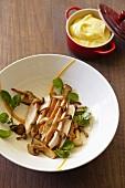 Hühnerbrust mit Pilzen & Kartoffel-Karottenpüree