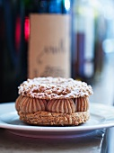 Choux pastry cake filled with chestnut cream (Paris Brest)