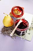 Aromatic blackberry and pear jam with lavender