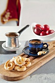 Greek coffee with Easter biscuits (koulourakia)