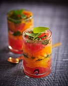 Aromatic fruit dessert with peppermint and lemon verbena