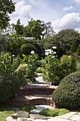 Blick von der Terrasse in den durch Treppenstufen getrennten Garten