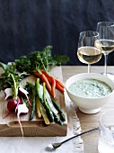 Crudites with a goat's cheese and herb dip
