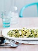 Potato salad with boiled eggs, preserved lemons and aioli
