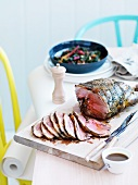 Roasted leg of lamb with a herb marinade