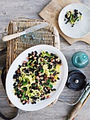 Black beans with savoy cabbage with diced bacon (Basque cuisine)