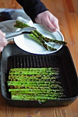 Fried asparagus being served