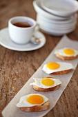 Fried egg on toast, coffee