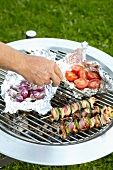 Meat kebabs, onions and tomatoes on a barbecue