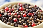 Bowl of Multi-Colored Peppercorns; Close Up
