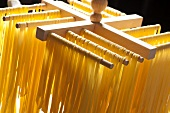 Homemade Tagliatelle Pasta Drying Before Cooking