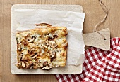 A slice of mushroom and cheese pizza