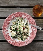 Spinach risotto with cheese (seen from above)