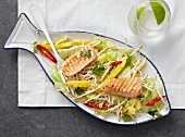 Beans sprout salad with grilled salmon
