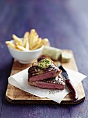 Beef steak with herb and sardine butter