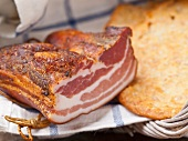 Tyrolean bacon with Schüttelbrot (crispy unleavened bread from South Tyrol)
