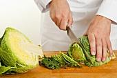 Shredding savoy cabbage
