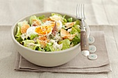 Caesar salad with croutons and egg