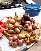 Onions and shallots in a kitchen