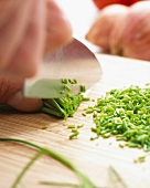 Chives being chopped