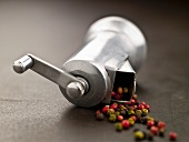 Multi-Colored Peppercorn Spilling From a Pepper Grinder