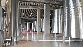 Stainless steel tanks in the Faustino winery, Ribera del Duero, Spain