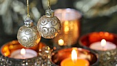 Christmas baubles and tealights
