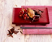 Pigeon breast with grape chutney and chocolate