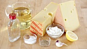 Ingredients fro Swiss cheese fondue