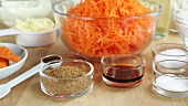 Ingredients for carrot cake (USA)