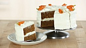 A carrot cake with cream cheese frosting (USA)
