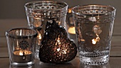 Tea lights and a decorative heart