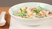 Coconut milk soup with prawns