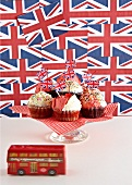 Cupcakes surrounded by British decorations