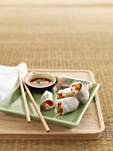 Rice paper rolls with a dip