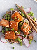 Pasta salad with beans, radishes and salmon (Asia)