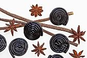 Liquorice whirls, star anise and liquorice