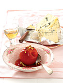 Poached nectarines with pistachios, sweet wine and blue cheese