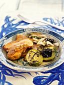 Seitan stew with mustard sauce