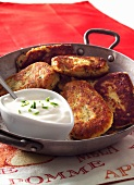 Potato cakes with yogurt sauce