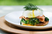 Eggs Benedict with Salmon, Spinach and Dill on an English Muffin