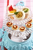 Tartlets with chilli chutney, cucumber sandwiches, peanut butter sandwiches and lemon curd sandwiches