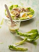 A sardine and soft-boiled egg salad