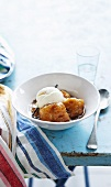 Spiced mini dumplings with vanilla ice cream
