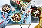Anelli Siciliani with radicchio, freekah salad with lamb
