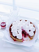 Rhubarb and raspberry tart with meringue