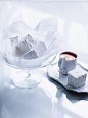 Homemade vanilla marshmallows and espresso