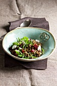 Lentil salad with beetroot and cheese