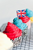 Cupcakes, one decorated with a Union Jack
