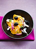 Orange salad with onions and olives